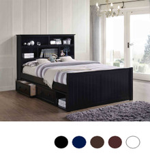 Dillon Wood Bead Board Queen Captains Bed   Queen Size Platform Bed with Storage Headboard