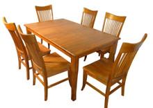 American Shaker AS-TA601GO Solid Oak 7 Piece Dining Table in Golden Oak Finish