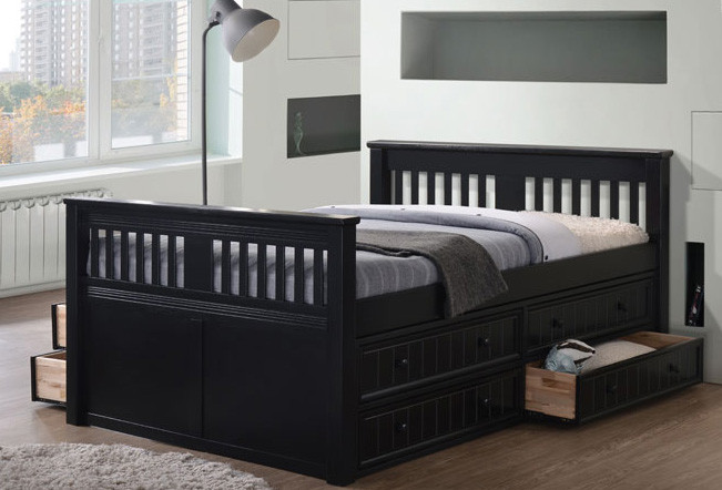 gary mission wood full size bed platform bed with drawers. Black Bedroom Furniture Sets. Home Design Ideas