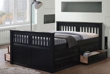 Gary Mission Wood Full Size Bed   Full Size platform Bed with Optional Under Bed Drawers