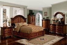 Antique Tobacco Oak Queen Platform Bed