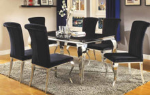 "59"" Daisy Black Glass Stainless Steel Table with Black Chairs"