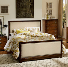 Bernal Dark Walnut Upholstered Bed by Homelegance | Upholstered Bed