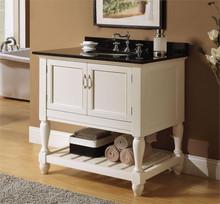 White Single Sink Cabinet w/ Black Marble