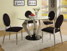 Alexis Modern Round Glass Satin Table & Chairs | Round Glass Top with Chrome Base Table