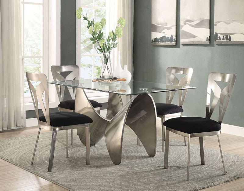 Beau Joshua Antique Silver Glass Dining Room Table With Four Chairs ...