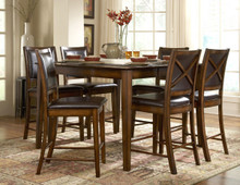 Rustic Oak Finish Counter Height Dining Table Set