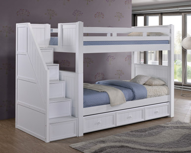 Dillon White Twin Bunk Bed With Storage Stairs Bunk Beds