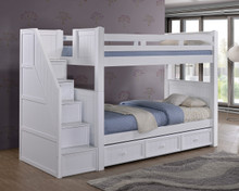 Dillon White Twin Bunk Bed with Storage Stairs | DILLON Bunk Bed with 4 Step Drawers and Trundle