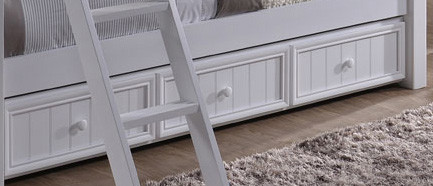 Dillon White Twin Bunk Bed with Storage Stairs