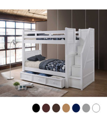 Dillon White Twin Bunk Bed with Storage Stairs   DILLON Bunk Bed with 4 Step Drawers and Trundle