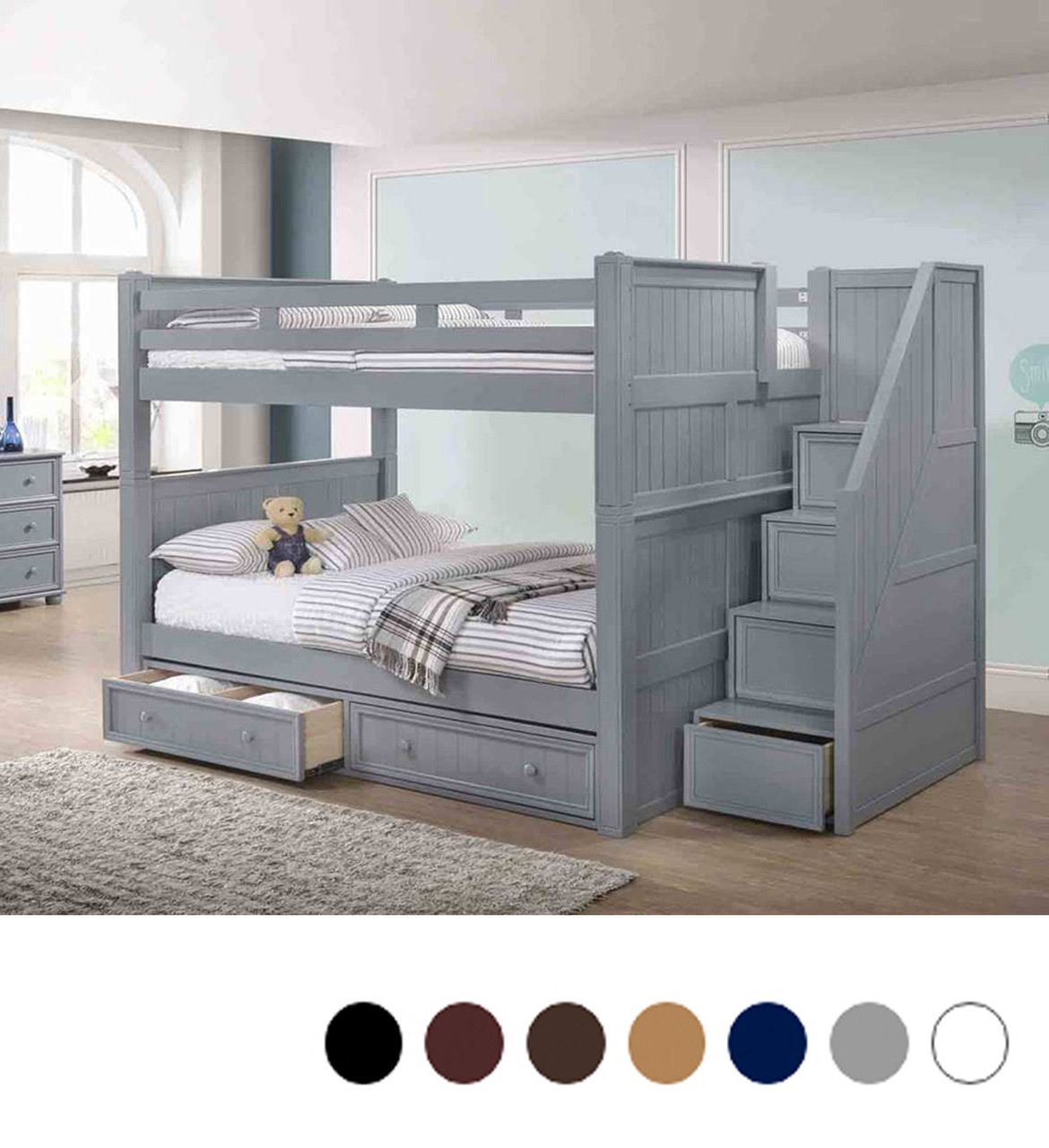 Dillon Full Over Full Bunk Bed With Stairs Drawers
