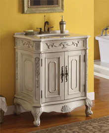 Antiqued White Single Sink Cabinet w/ White Marble