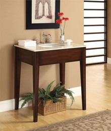 Cherry Single Sink Cabinet w/ White Marble Top