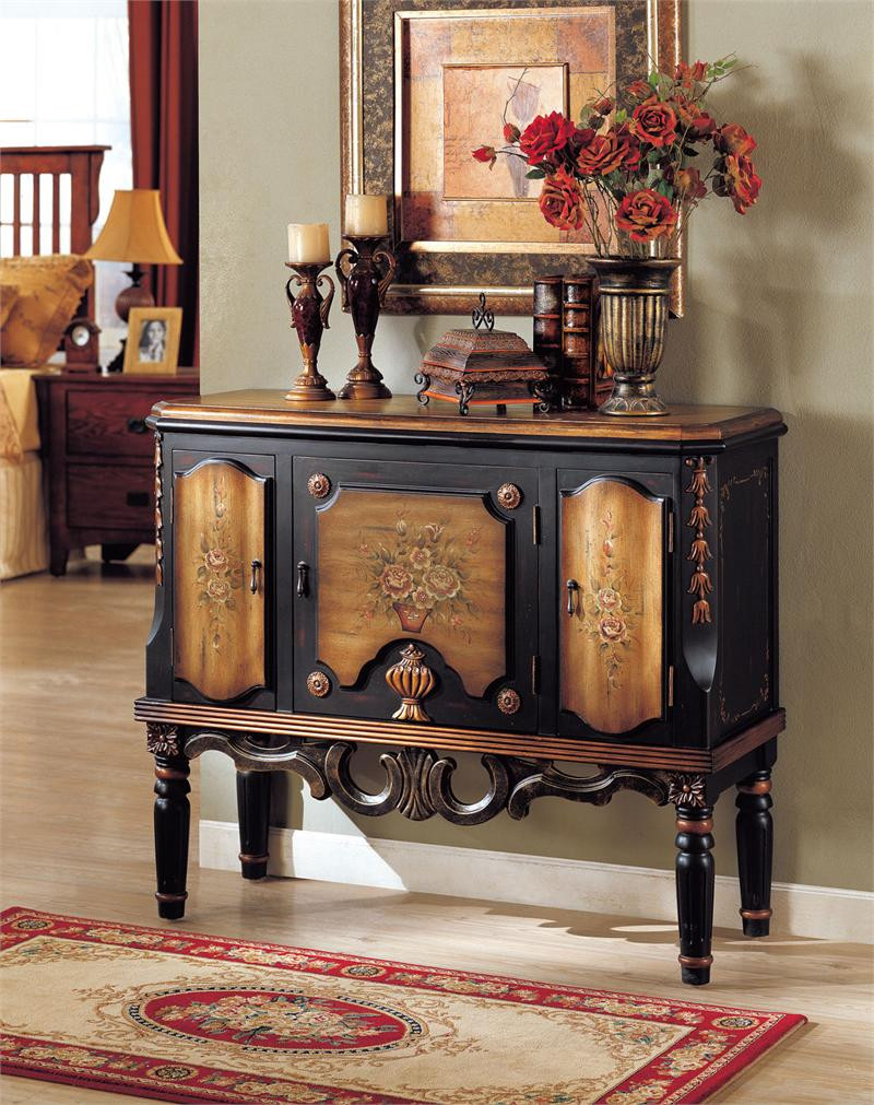 clara floral espresso hallway console accent chest