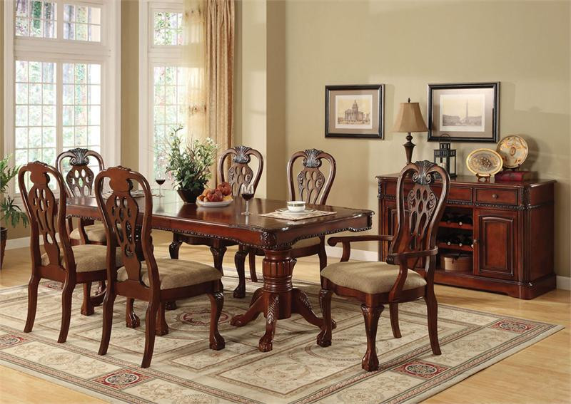 84 formal pedestal dining tables warm cherry dining for Dining room 8 feet wide