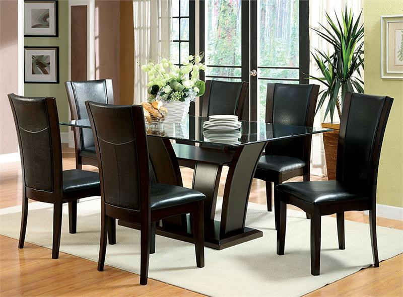 Rectangular Glass Top Dark Cherry Dining Table with Chairs