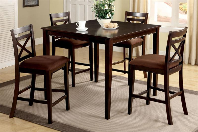 "Granite Top Kitchen Table Set: 42"" Weston II Square Espresso Counter Height Set"