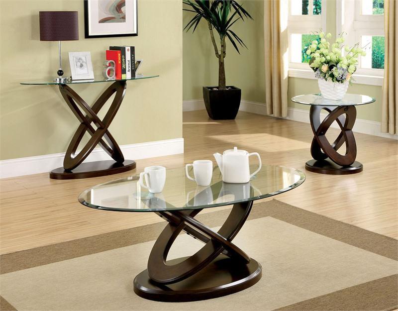 Atwood Oval Glass Dark Walnut Coffee Table