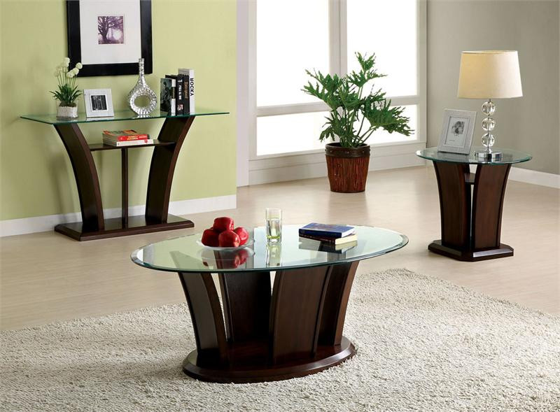 "48"" keystone oval glass dark cherry coffee table 