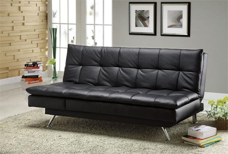 Hasty black leatherette futon sofa bed for sale futon for Black sofa bed for sale