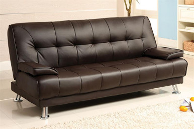 Beaumont dark brown leatherette futon sofa bed for Q furniture and mattress beaumont tx