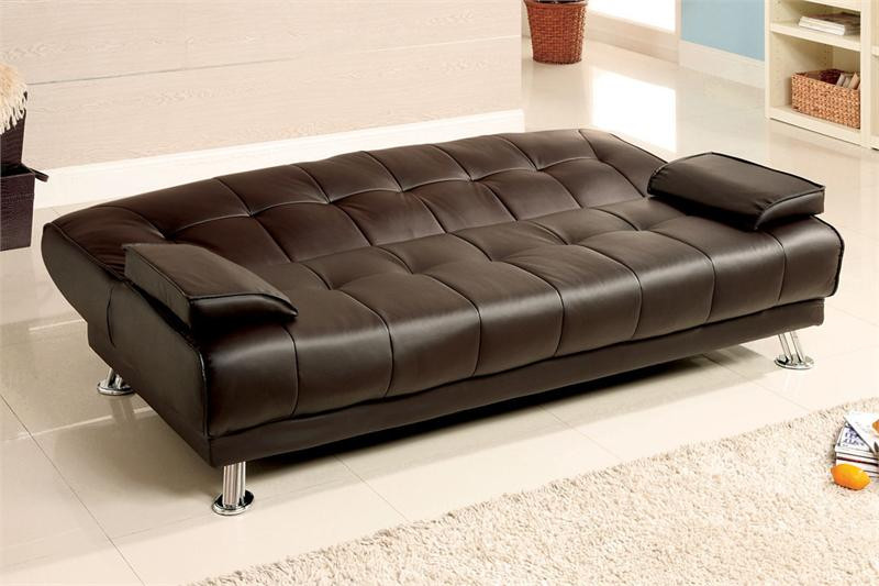 Beaumont Dark Brown Leatherette Convertible Futon Sofa Bed