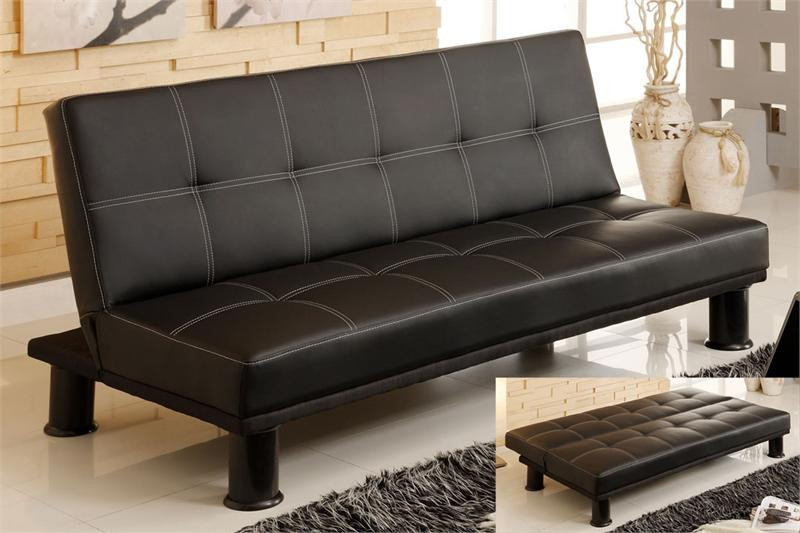 Quinn black leatherette futon sofa bed for sale futon sofas for Black sofa bed for sale