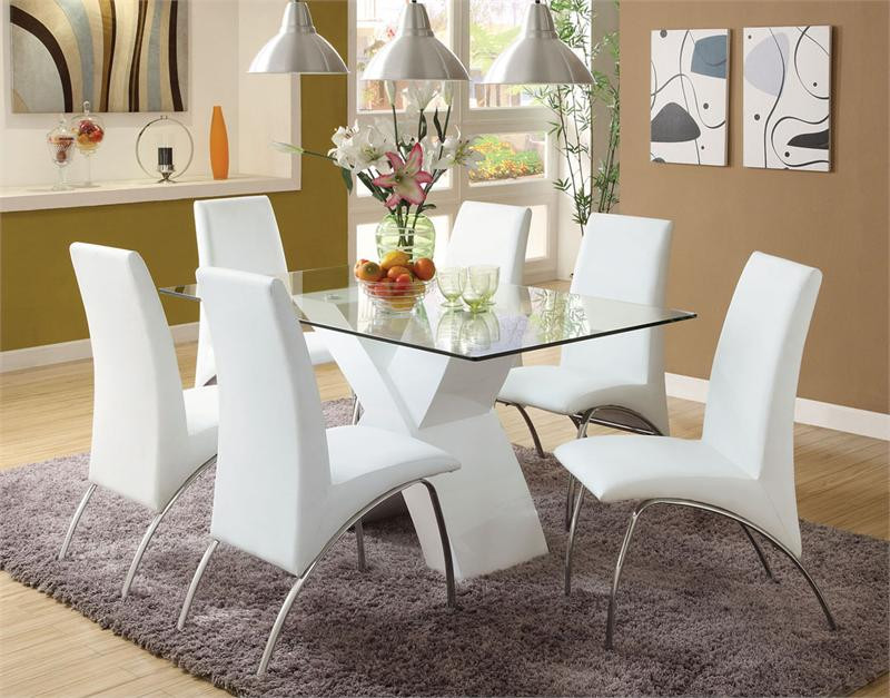 Lydia Chrome White Dining Table Set | Rectangular Glass Top With White Base  Table