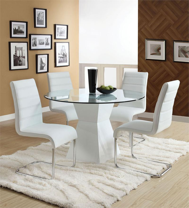 Lynelle White Round Glass Top Dining Table With White Base - Contemporary round kitchen table and chairs