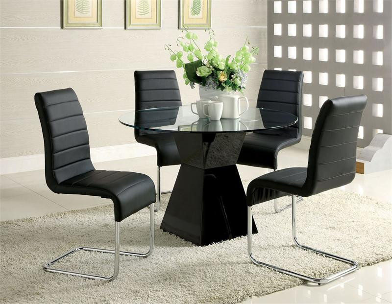 Glass Dining Table Set For 2: 45 Inch Lynelle Round Glass Top Black Dining Table Set For