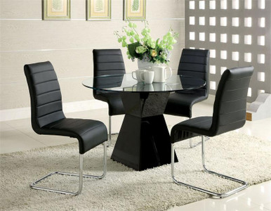 45 Inch Lynelle Round Glass Top Black Dining Table Set For