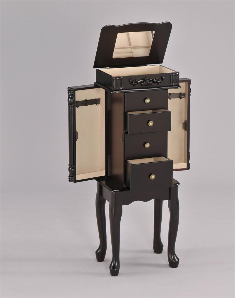 Espresso Jewelry Armoires Flip Top | Small Mirrored ...