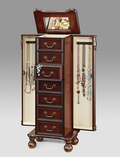 Cherry Jewelry Armoires Mirrored Jewelry Armoire For Sale