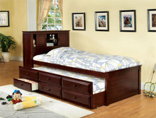 South Land Captain Cherry Twin Platform Bed W/ Trundle | Versatile Bookcase Platform Ned with Trundle