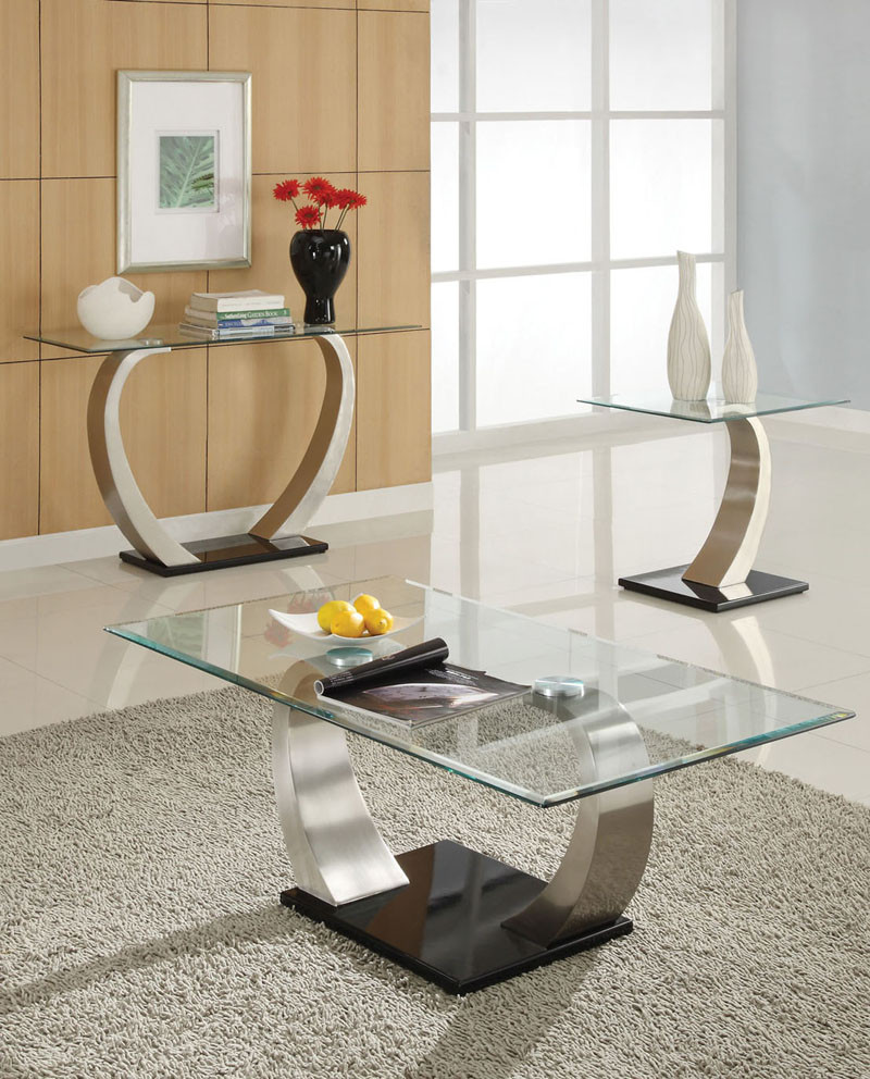 Modern Round Glass And Chrome Coffee Table: Alena Modern Chrome Glass Coffee Table