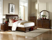 Karla Brown Cherry Platform Bed With Drawers | Elegant Queen King Platform Bed with Under Bed Drawers