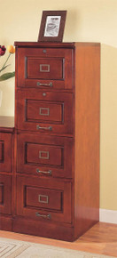 4 Drawer Wood File Cabinet In Cherry Finish