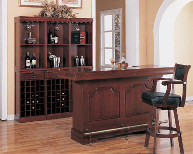 Harrison Cherry Finish Traditional Bar Counter | Home Bar Counters