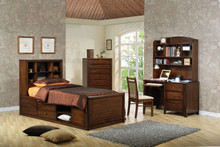 Youth Deep Walnut Full Bookcase Bed