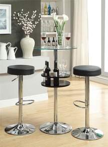 Round Glass Black Chrome Bar Table | Modern Style Bar Table with Stools