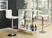 Contemporary White Glass Bar Counter | Versatile Home Bar Counter In White