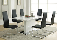 Inga Modern White Dining Table w/ Black Chairs