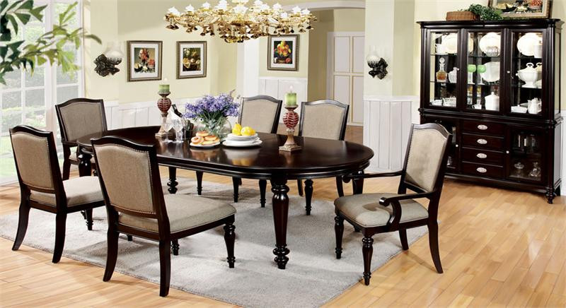 Harrinton Formal Dark Walnut Dining Table Set