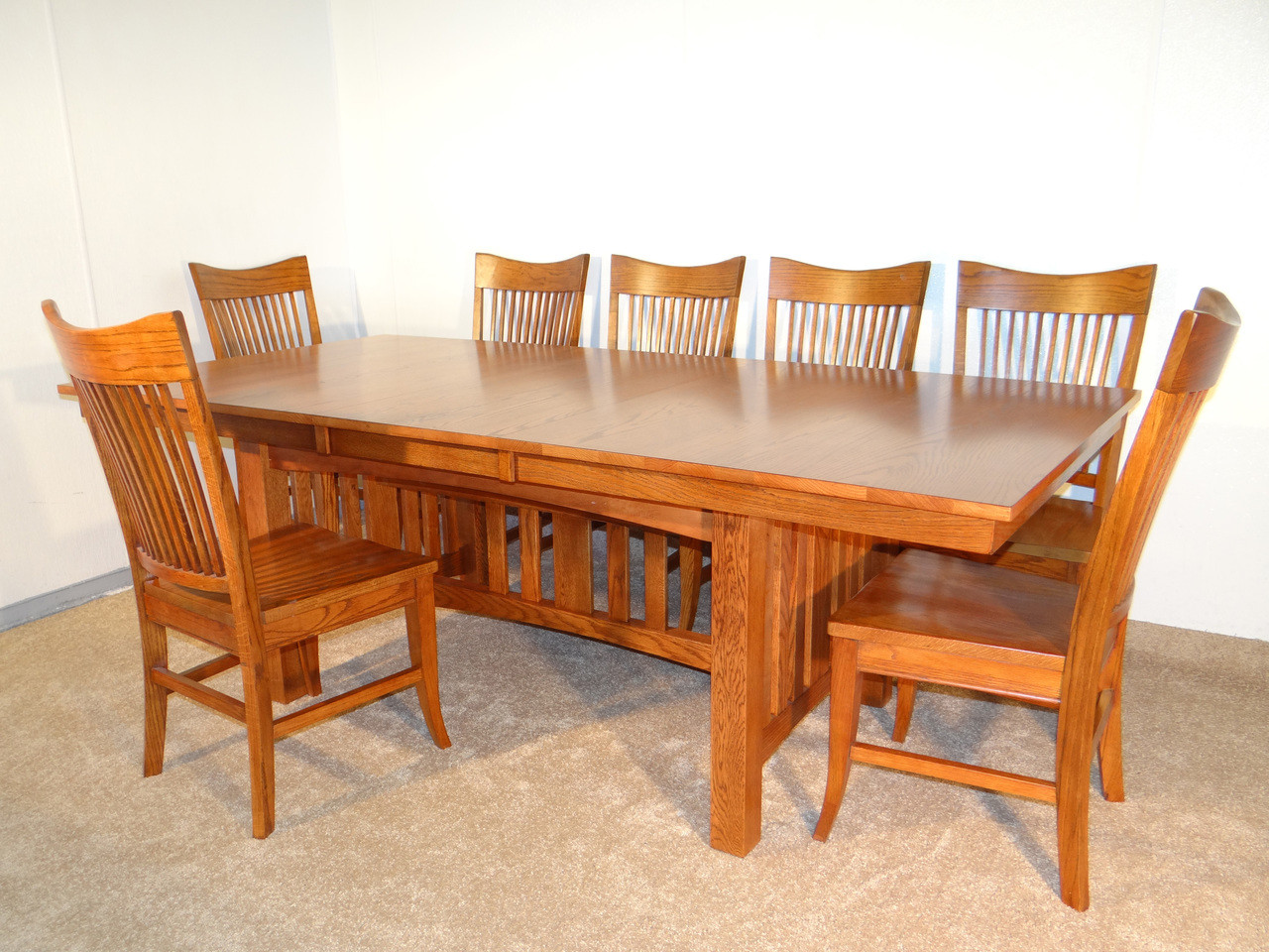 Mission Hills Solid Oak Dining Table With Leather Seats · Table With Solid  Oak Seats ...