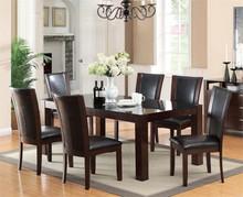 Astoria Dark Cherry Glass Dining Set | Rectangular Shape Glass Top