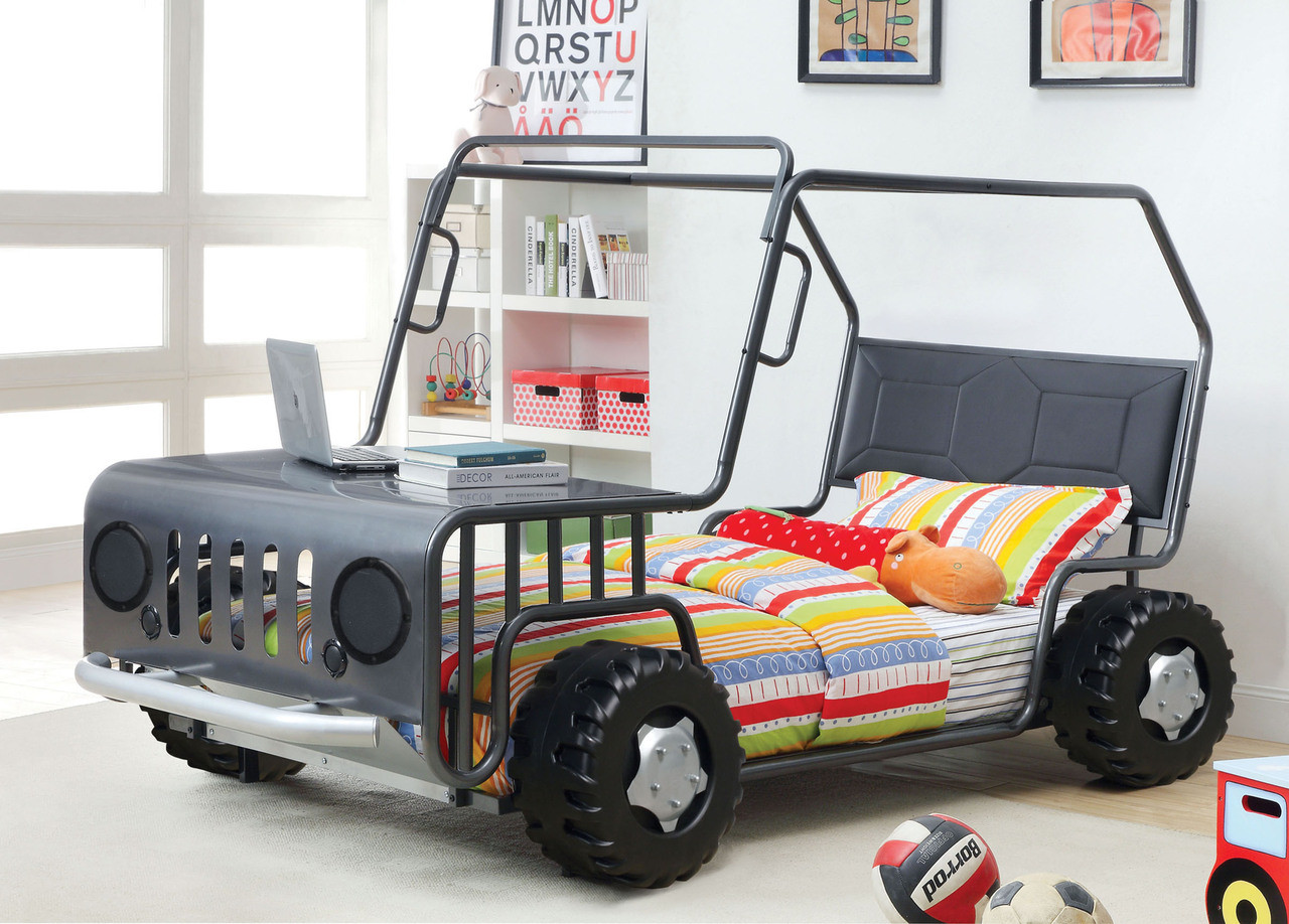 gun metal twin car bed frame