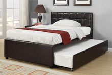 Adena Espresso Faux-Leather Twin Bed w/ Trundle