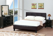 Gene Faux-Leather Queen Platform Bed | Classic Queen Upholstered Platform Bed