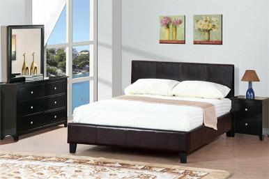 Gene Faux Leather Queen Platform Bed | Classic Queen Upholstered Platform  Bed